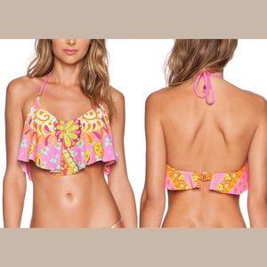NEW! Trina Turk Woodblock Floral Crop Bikini TOP